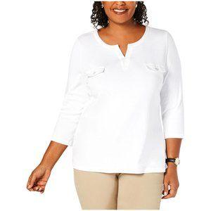 Women's Split Neck Pocket Detail 3/4 Sleeves Top